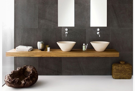 modern bathrooms design with unique two sink