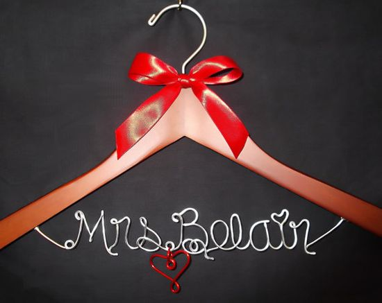 Hanger one Line Personalized Custom Bridal Hanger by LoriLynns, $22.99