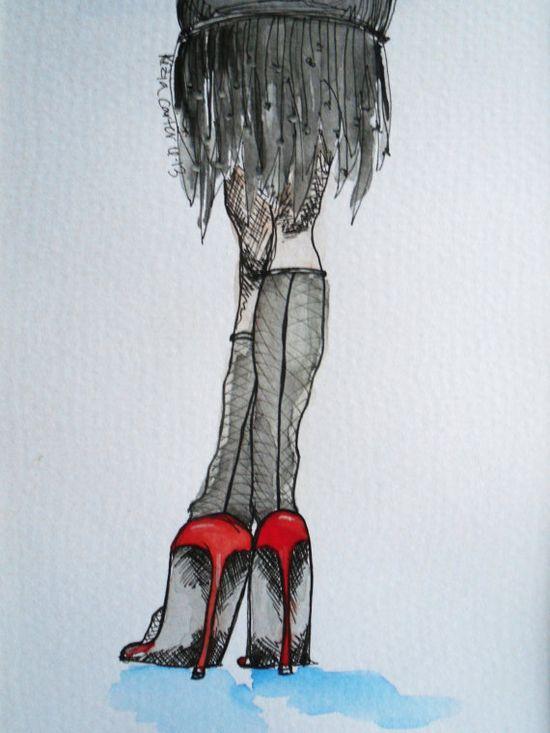 Fashion Shoe Watercolor  seventeen original by keziacarterstudio, $10.00