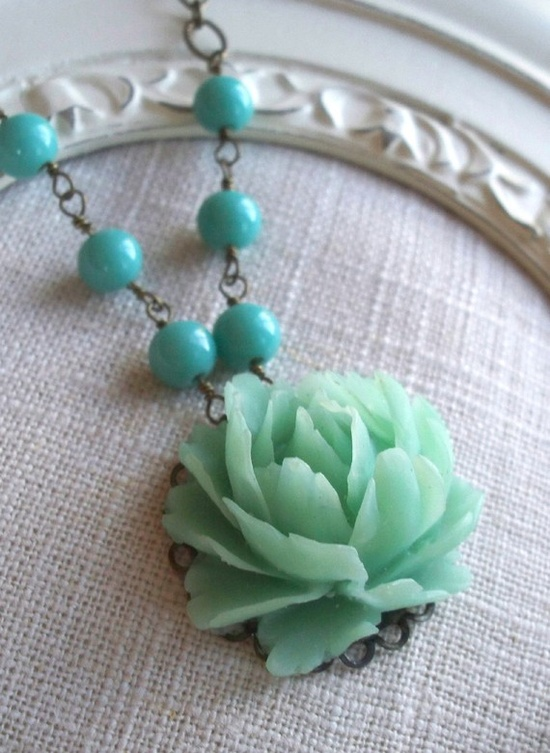 Lotus and Vintage Bead Necklace