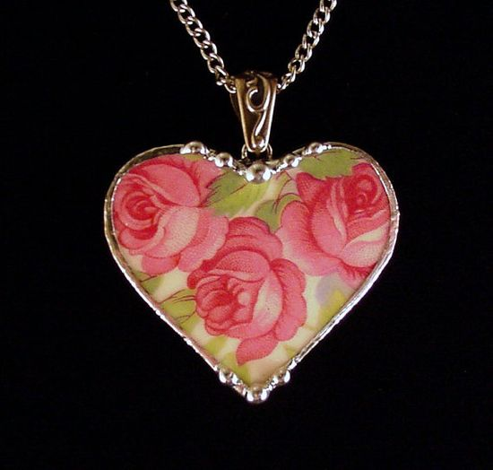 Broken china jewelry heart pendant by Dishfunctional Designs. Made from a broken plate. vintage American rose china