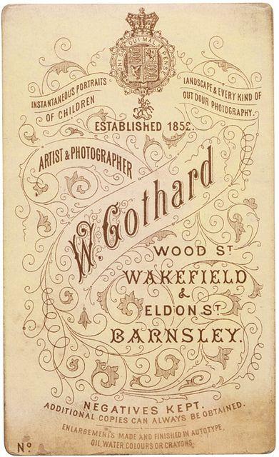 W. Gothard - Vintage photographic Studio card