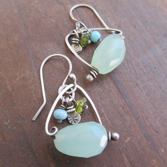 Earrings Funky Sterling wire wrapped dangling Beachy by artdi