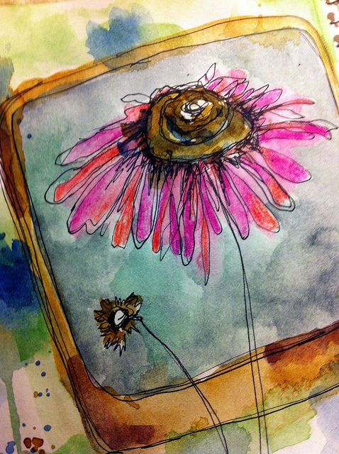 flower doodles and watercolor