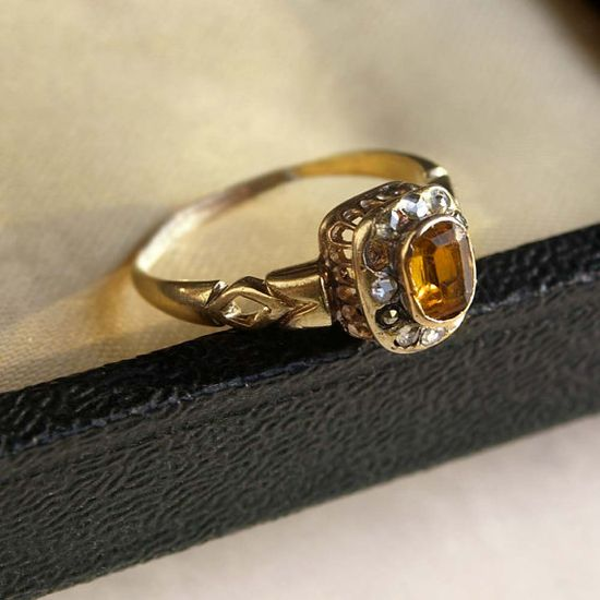 Art Nouveau Vintage Original Ring Yellow by mysticalCharm3 on Etsy, $221.00