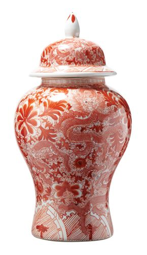 Chinese Orange Dragon Porcelain Temple Jar, sharing beautiful designer home decor inspirations: luxury living room, dinning room & bedroom furniture, chandeliers, table lamps, mirrors, wall art, decorative     tabletop & bathroom accents & gifts courtesy of instyle-decor.com Beverly Hills enjoy & happy pinning