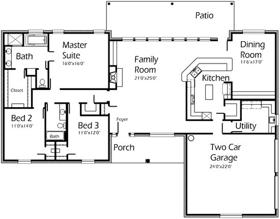 House Plans by Korel Home Designs 2200 sqft.  I kinda like this ranch but updated to a better curb appeal.  Look at the wall of windows in the back of the great room!!