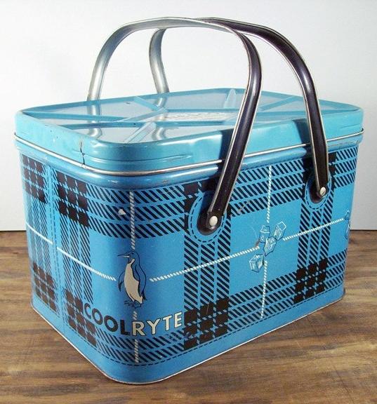 Vintage Cool Ryte, plaid picnic basket.