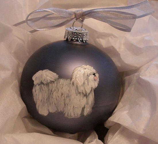 Coton de Tulear Dog Hand Painted Christmas Ornament - Can Be Personalized with Name. $17.95, via Etsy.