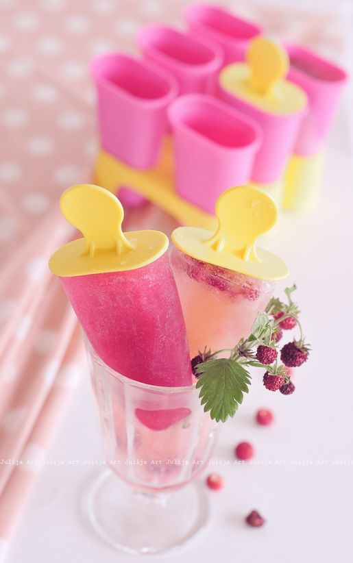 Pretty pink ice lollies. With cute plastic holders!