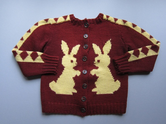 Bunny Cardigan Sweater, Handknit, 1950s Authentic, Wool, Vintage, Size Childs 5-6