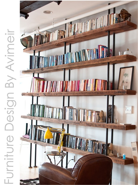 Handmade Furniture Design.  Books arranged by color