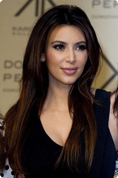 Kim Kardashian Sleek Long Straight Ombre Color Hairstyles 2013