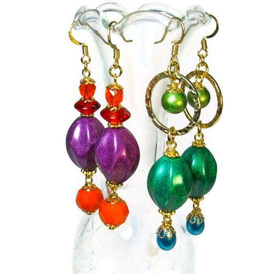 Bead Dangle Earrings, Colorful Earrings, Purple Orange. $18.00, via Etsy.