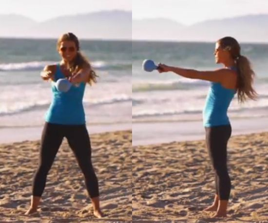 Ladies: Here's a fun routine to do with the kettlebells that tones the inner thighs, lifts the booty, strengthens the core, and tones the waistline and entire upper body!