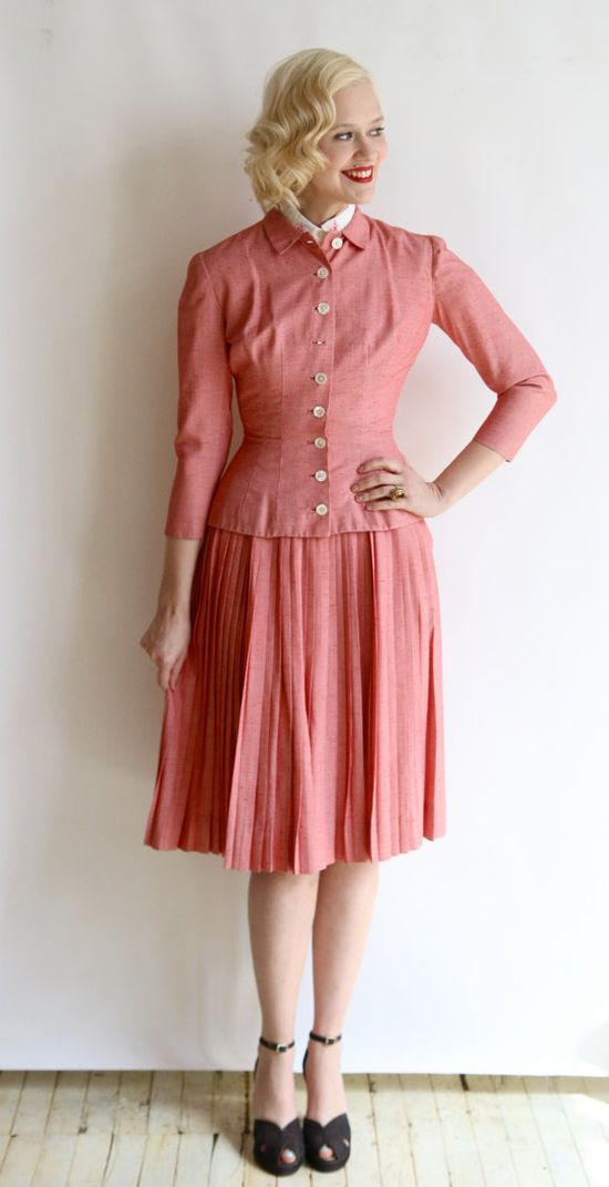 1950s 2pc // vintage 50s jacket & skirt // Red by dethrosevintage, $152.00