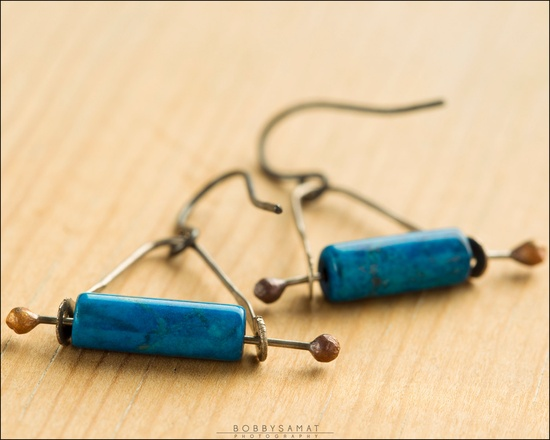 Howlite Oxidized Sterling Silver Swing Earrings - Jewelry by Jason Stroud.