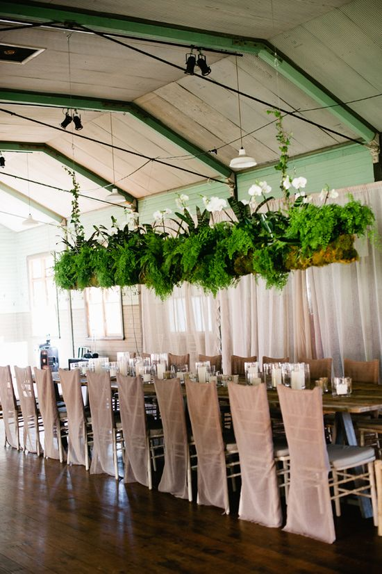 suspended ferns. #wedding #party #decor