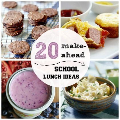 20 Make-Ahead School Lunch Ideas.  Cut the stress out of the morning with the help of these 20 delicious make-ahead school lunch ideas! #lunch #back2school