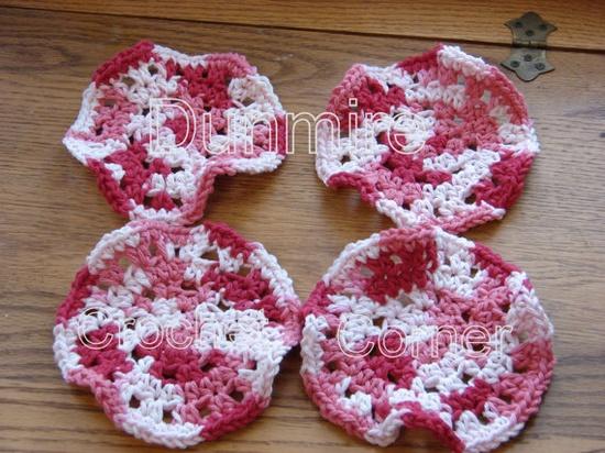Crochet Azalea Ruffle Coasters A Set of 4 by Dunmirecrochetcorner, $5.00