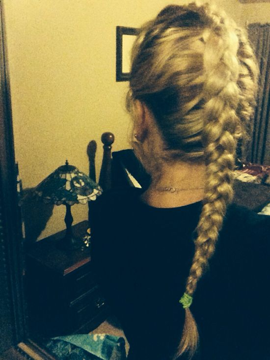 Inverted french braid #blondehairstyles