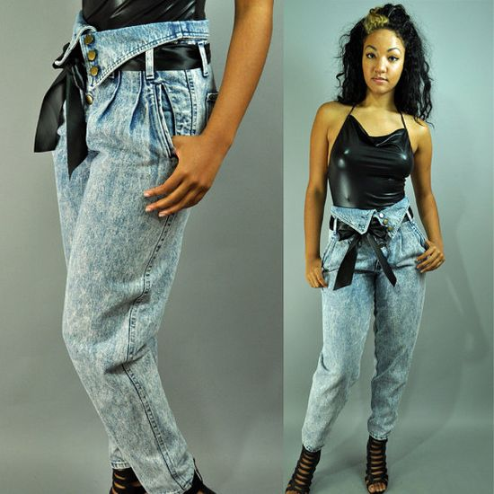 High waisted fold-over jeans from mid to late 80's.