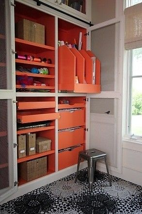 Create a designated space in your home for your hobby supplies. It doesn't have to be a whole room, either — a closet (like this one from Designs by Shoshana) can keep crafting equipment, a basket by the door can hold your yoga gear.