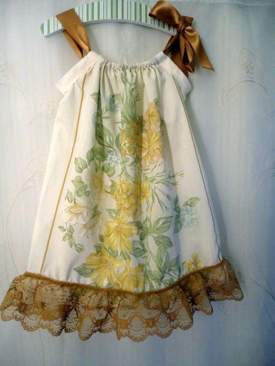 Pillowcase dress made from a vintage pillowcase. Love.