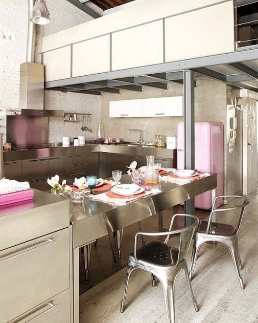 silver modern kitchen with pops of pink