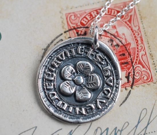 The English rose?  medieval flower wax seal necklace in fine silver by suegrayjewelry, $68.00