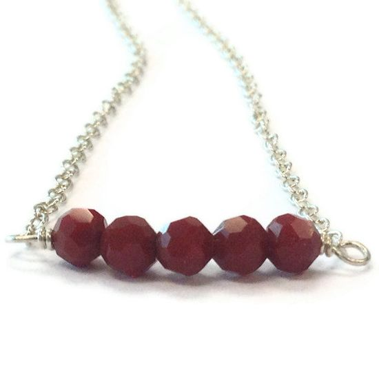Red Necklace Sterling Silver Jewelry Crystal by jewelrybycarmal, $22.00