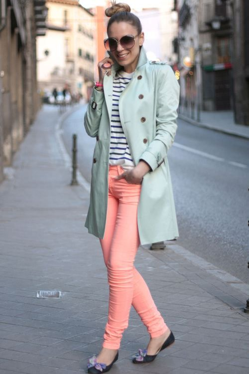 Striped tee + Candy color jeans + trench coat