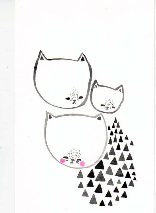 cat painting  three cats