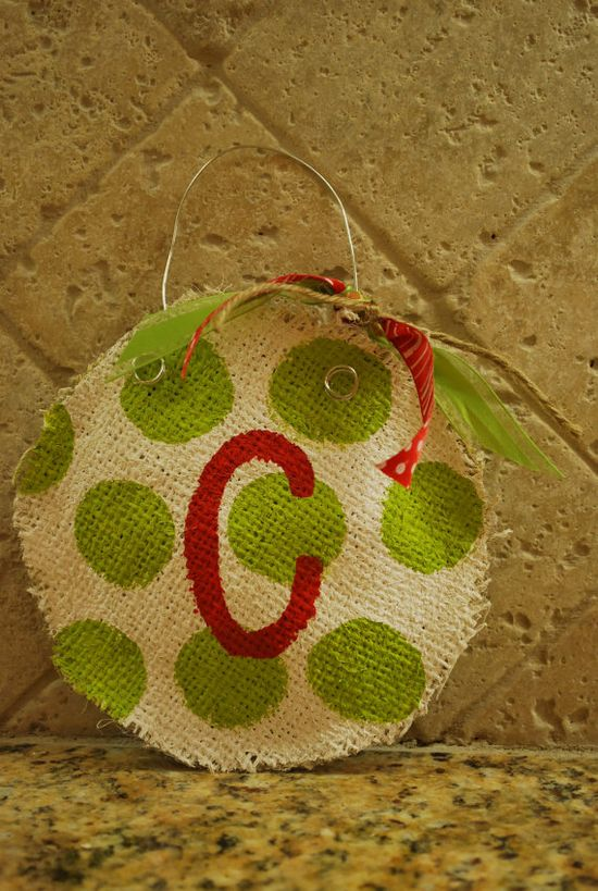 burlap Christmas ornaments.  I'm in love!
