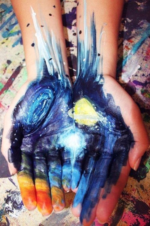 painting painting and drawing on arms and hands is what i love to do. parents hate it ugh no respect for art hahah galaxy with stars