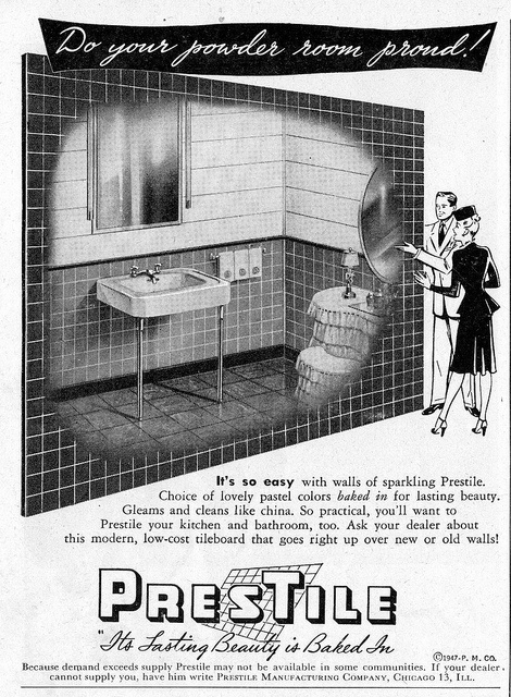 Are you doing your powder room proud? If not, you might just need to get some PresTiles! :) #vintage #ad #bathroom #1940s