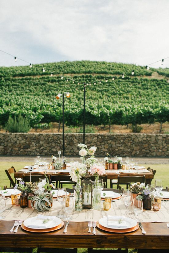 outdoor reception with copper + white details // photo by Sweet Little Photographs, styling by Sitting in a Tree Events, flowers by The Little Branch // View more: ruffledblog.com/...