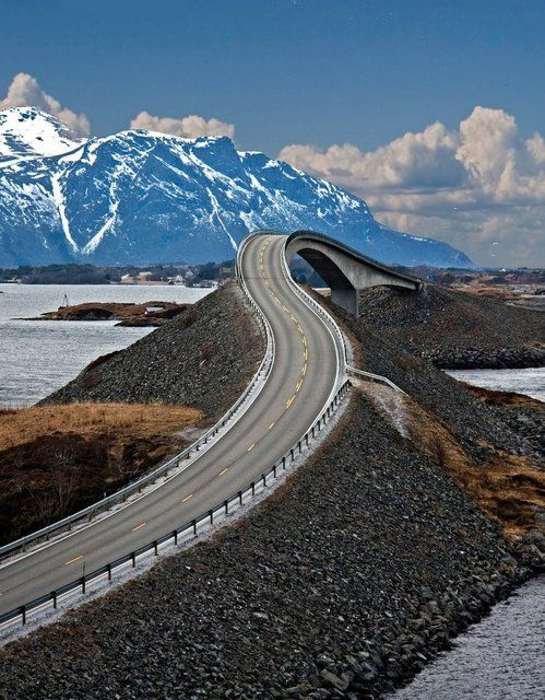 "Check out this ""drunken"" roadway. Seems to be the Storseisundet Bridge, on the Atlantic Ocean Road in Norway. #Photography #Scenic #Views"