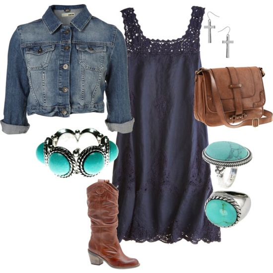 Summer dress, denim jacket, cowboys boots