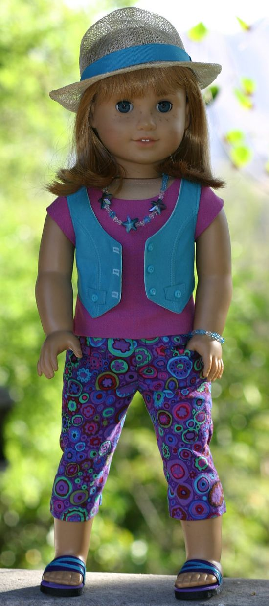 American Girl Doll Clothes/Capri Pants by DollClosetHeirlooms, $105.00