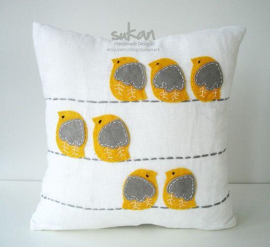 sweet yellow and grey birdie felt pillow