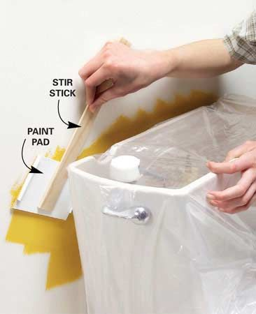 Long reach paint pad keeps tight spots neat.  If you have a tight spot to paint, remove the pad from a paint edging tool (about $2 at home centers). Hot-glue the pad to a stir stick, and you've got a painting tool that will fit behind toilet tanks and radiators.
