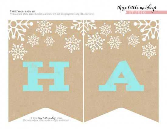 Free Printable Holiday tags, banner, etc