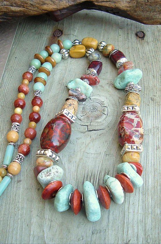 Boho Chunky Gemstone Necklace, Southwest Jewelry, Turquoise Necklace, Bohemian Jewelry