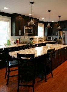 Alysons-black cabinets with light counter tops