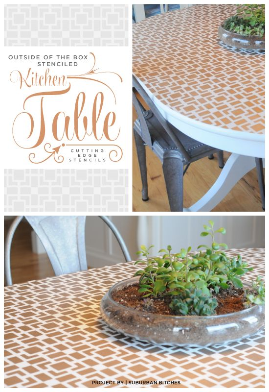 A gold stenciled table that uses the Outside the Box stencil from Cutting Edge Stencils. www.cuttingedgest... #cuttingedgestencils #stencils #stenciling #furniture #diy #table #kitchen