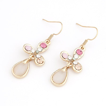 Gold 3 Leaves Colorful Crystal Ivory Cat Eye Droplet Earrings