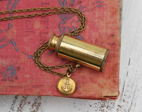 World Traveler SPY GLASS Necklace. Antique by redtruckdesigns