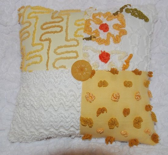 Gold Yellow Butterscotch Vintage Chenille Handmade Charm Pillow