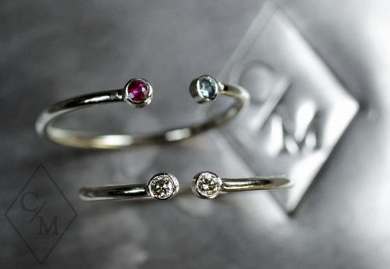 Dual Birthstone Ring in 14k WHITE Gold - Choose your own diamonds and gemstones